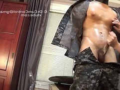 Cumcontrol Asian hunk in army uniform tolerance cumcontrol