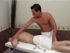 Blonde gets massage before fucking