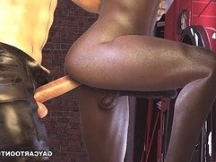 3D cartoon ebony fireman taking a hard cock in his ass