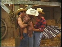 Farmers cock sucking toying and fucking threesome